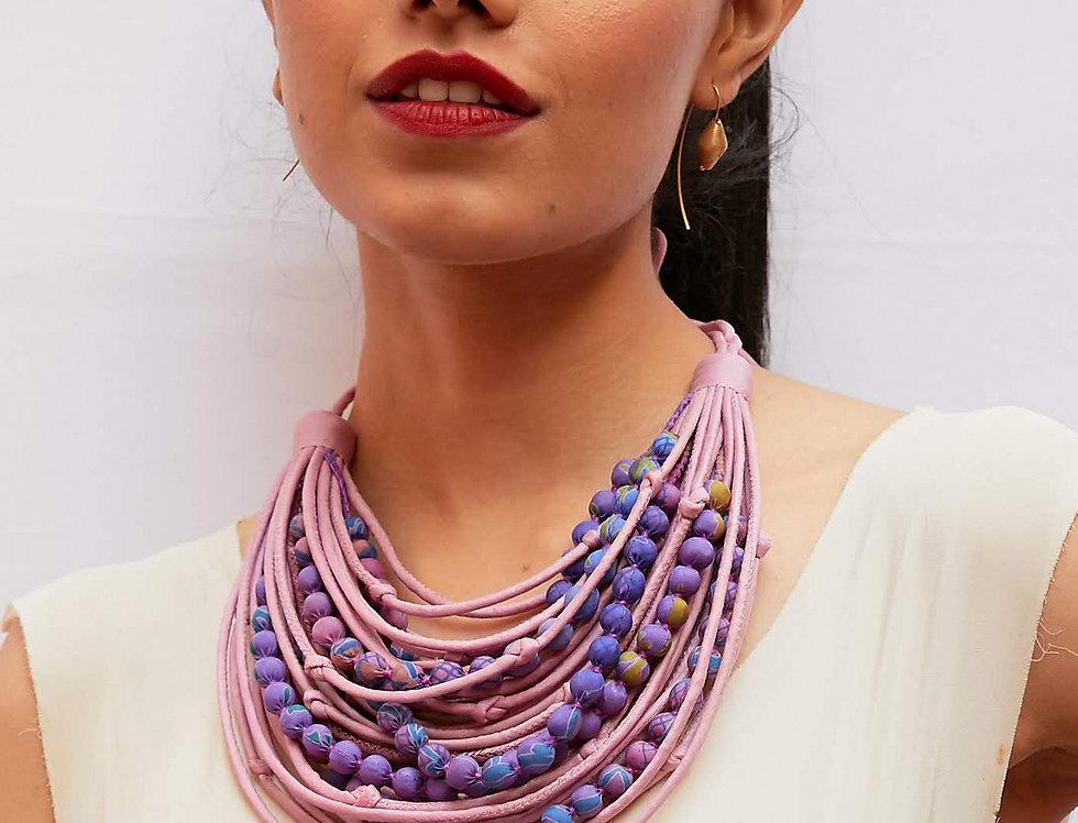 Sari String & Bead Necklace | rose & mauve