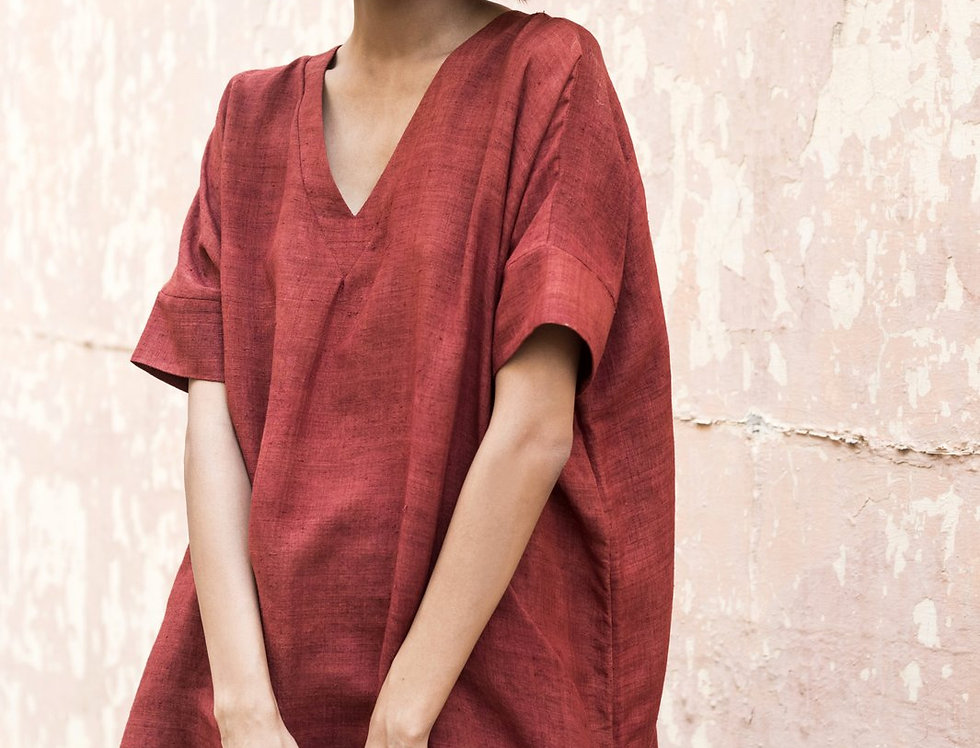 Mulberry Peace Silk Box Dress | dark madder