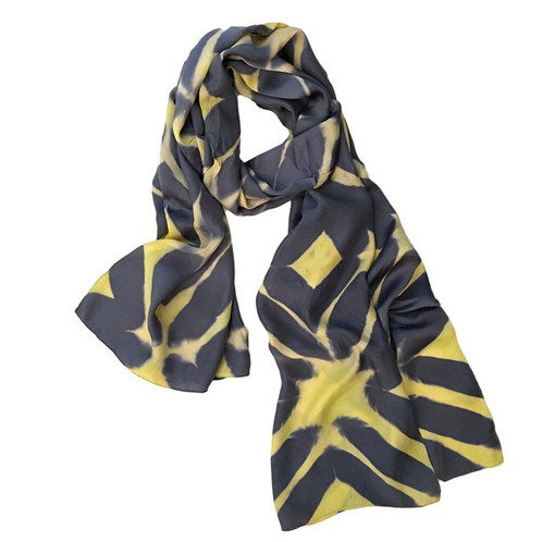Itajime Shibori Silk Scarf   grey & acid yellow