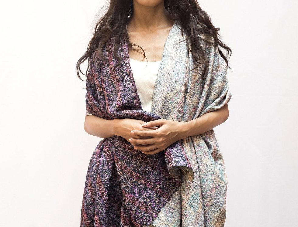 Kantha Sari Wrap | baby blue & fuchsia on black