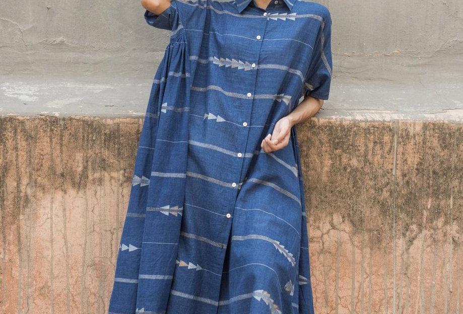 Artist Dress | jamdani indigo & zari