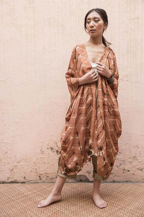 Itajime Silk Reza Robe | terracotta