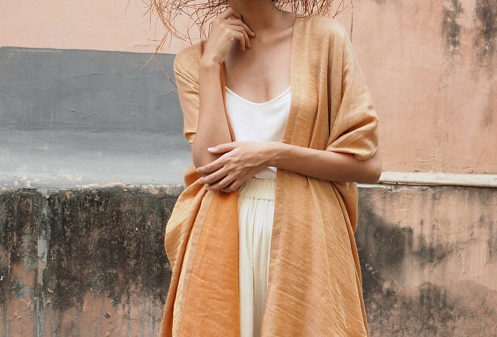 Pashmina Double Dune Robe | terracotta & gold