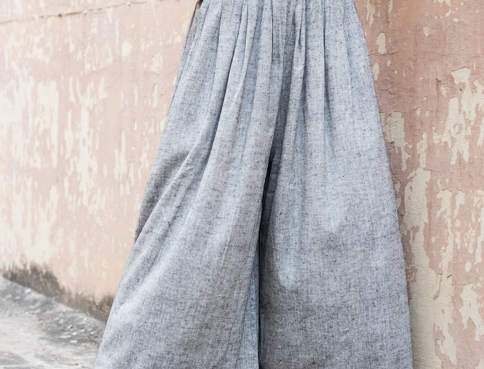 Eri Peace Silk Palazzo Pants | charcoal chambray