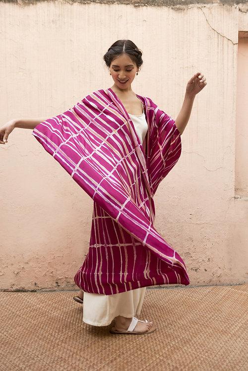 Itajime Silk Dune Robe   rani pink