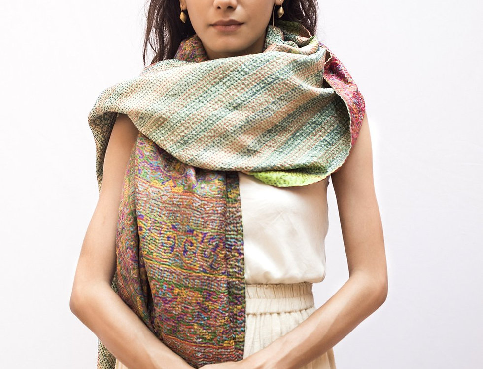 Kantha Sari Wrap | light sage & red