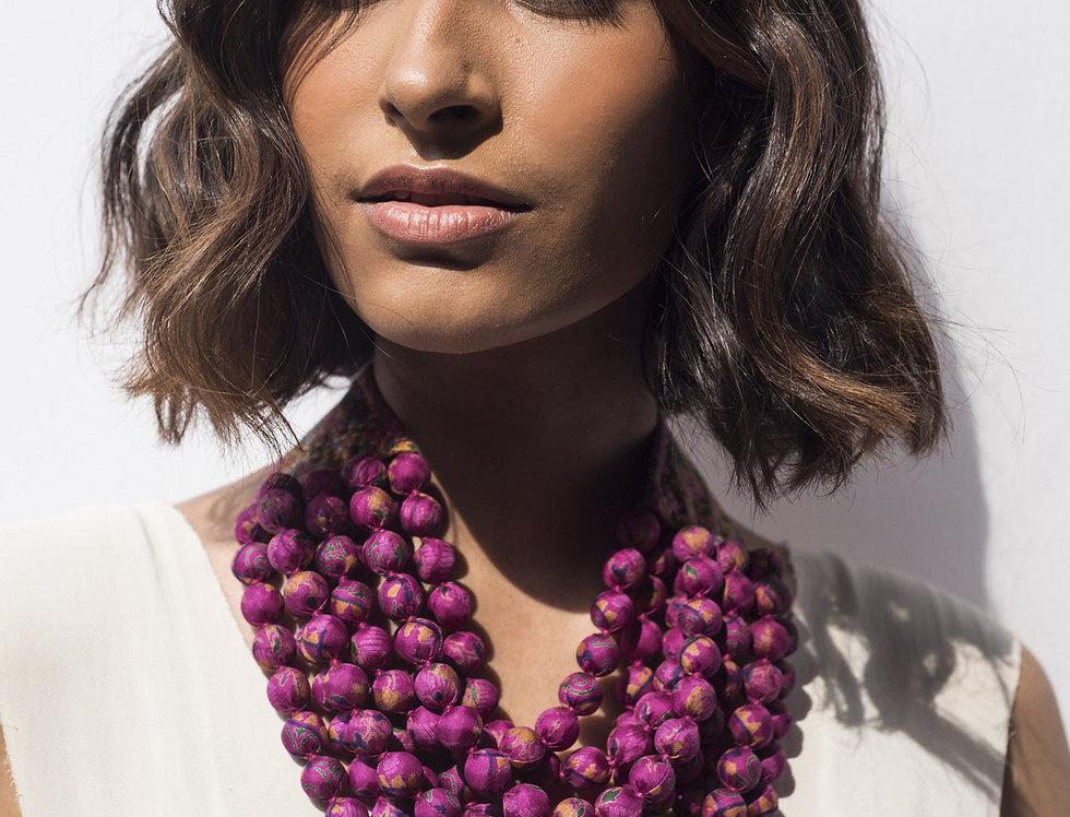 Kantha Beaded Necklace | magenta