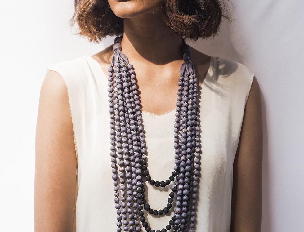 Sari Bead Necklace - 7 string | lavender-grey & black