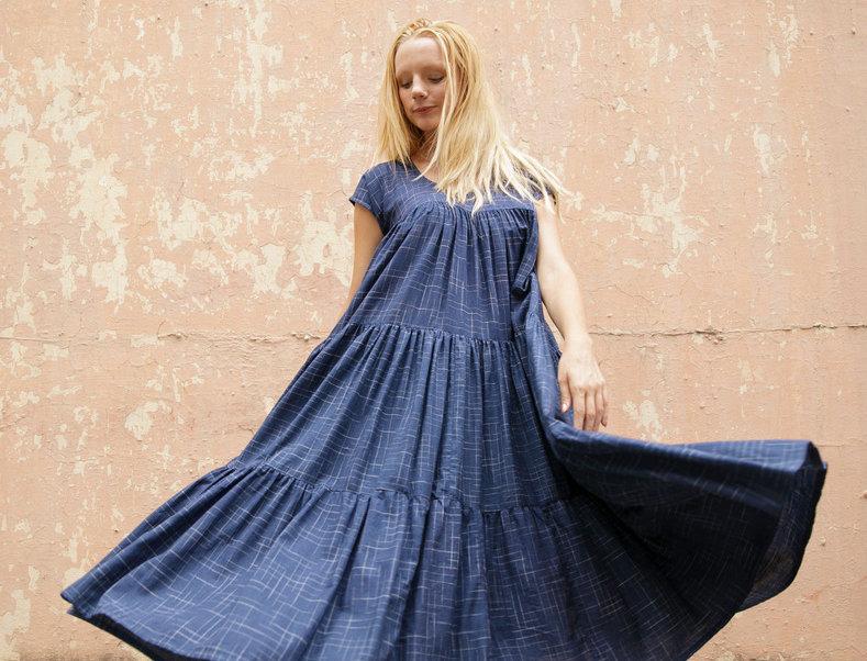 Tiered Dress | indigo ikat