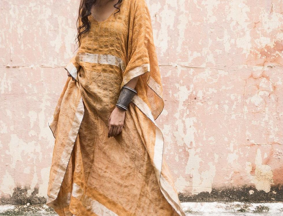 Lineya Linen Kaftan   saffron & silver