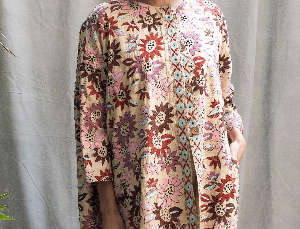 Nakshi Kantha Cocoon Coat   autumn bagh
