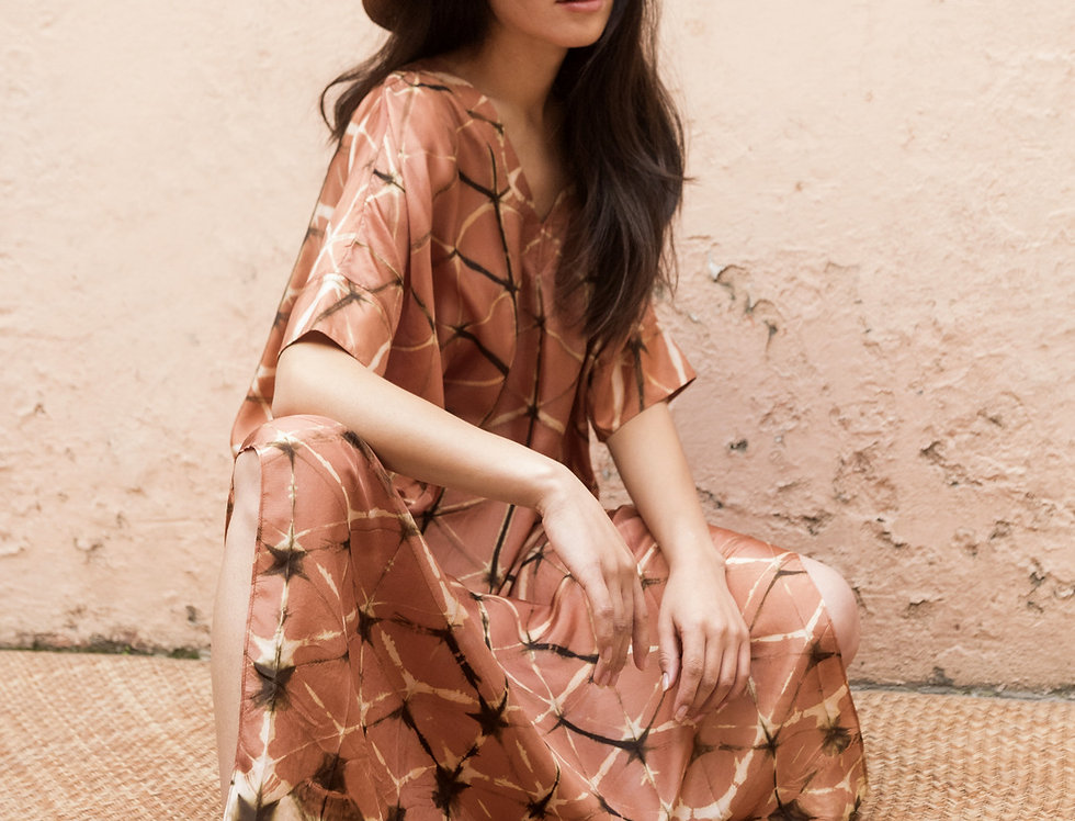 Itajime Silk Box Dress | terracotta