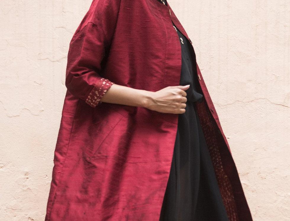 Raw Silk Cocoon Coat | garnet