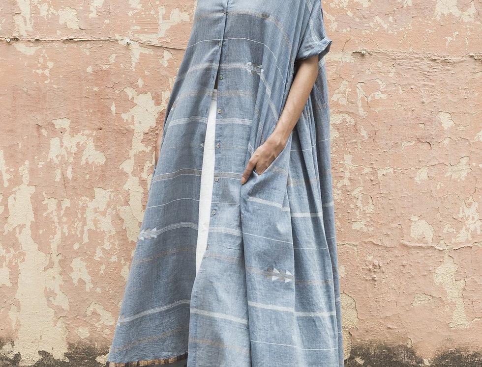 Artist Dress | jamdani indigo chambray & zari