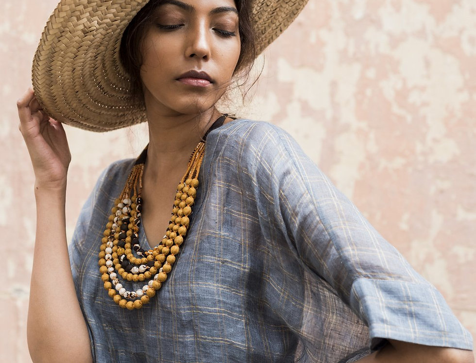 Lineya Linen Box Dress | slate blue & silver