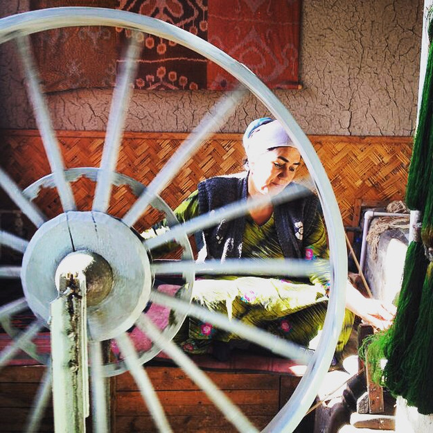 """The thread is wound onto a bobbin by an assistant - the Charkhtob, """"he who rotates the wheel"""" - using pulleys and a giant wheel, called the devcharkh; dev being a fabled giant of great strength."""