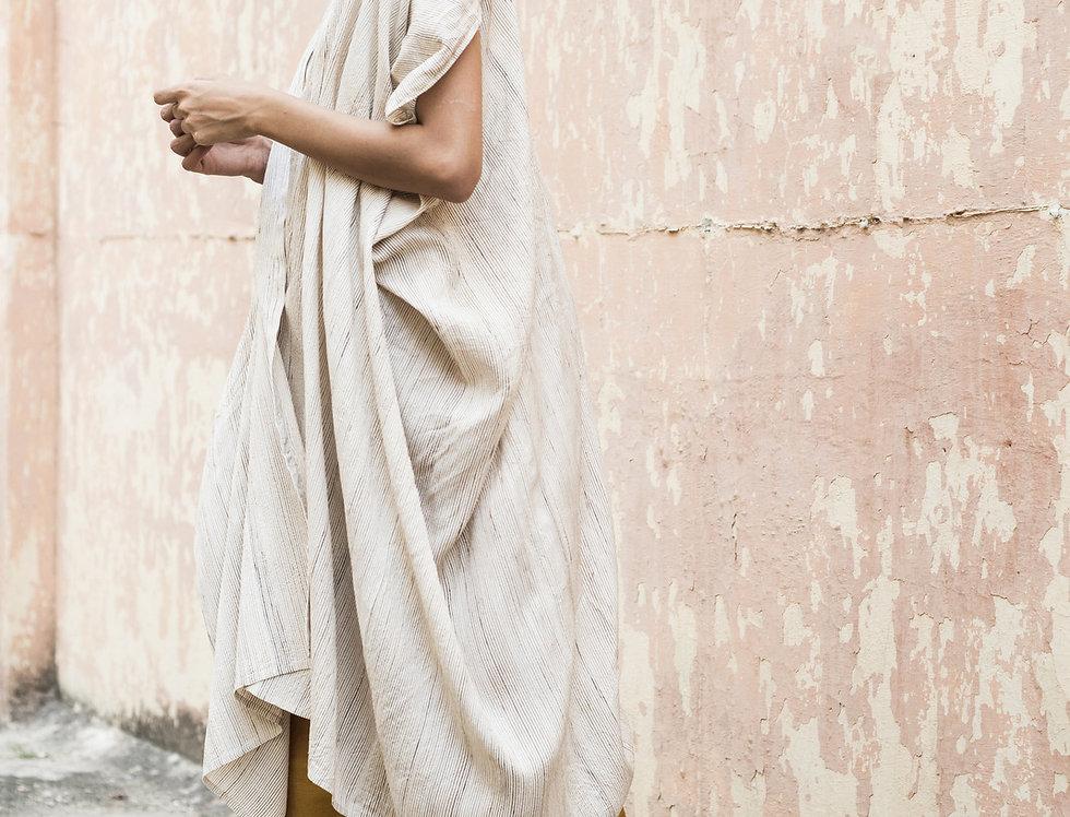 Tussar Peace Silk Dune Robe | alabaster