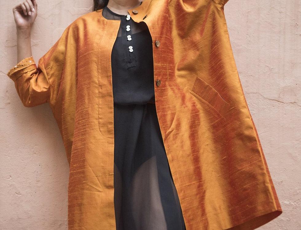 Raw Silk Cocoon Coat | topaz