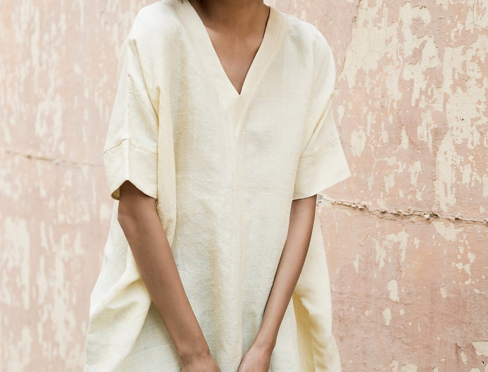 Mulberry Peace Silk Box Dress | natural ivory
