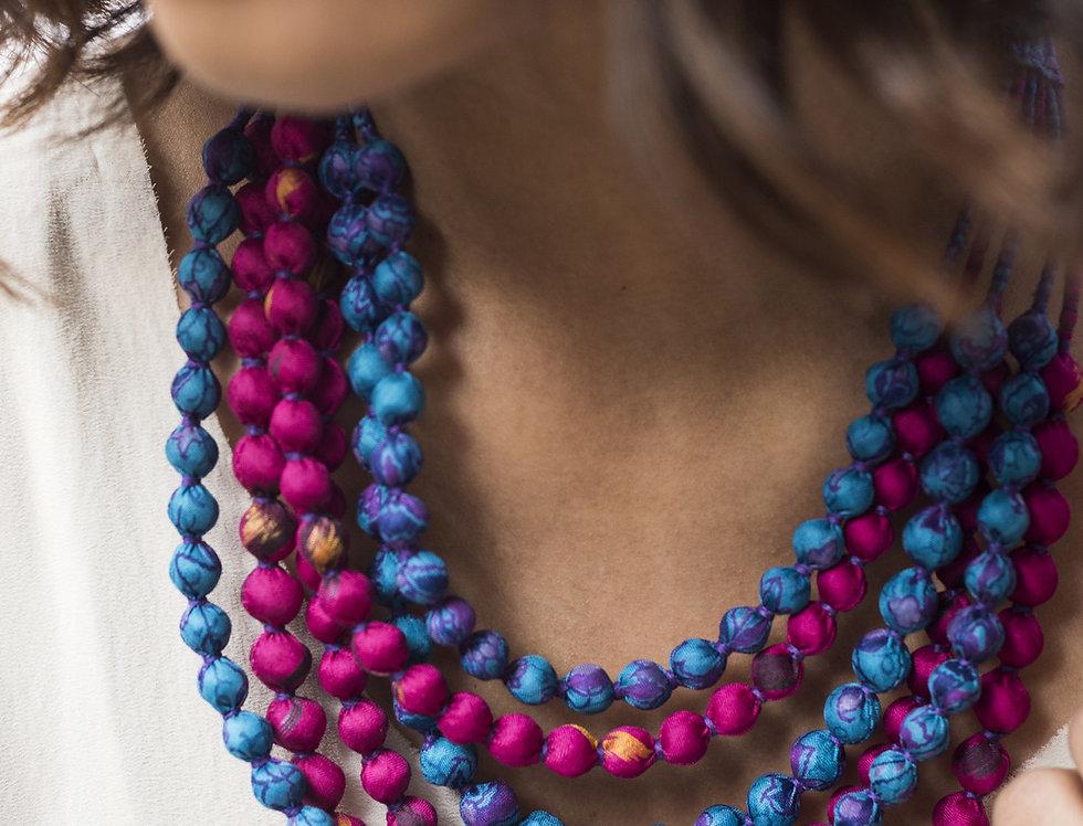 Sari Bead Necklace - 6 string | magenta & blue