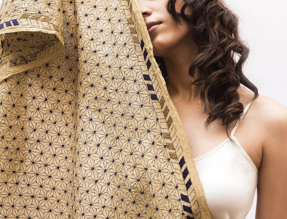 Nakshi Kantha Scarf | ivory