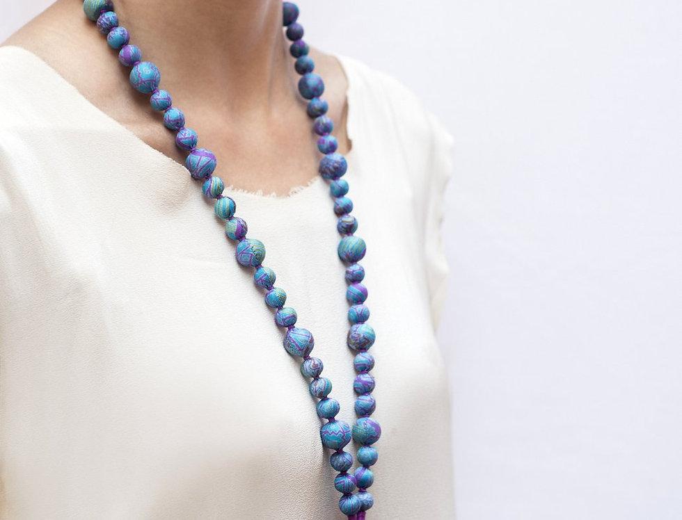 Sari Bead Necklace - jhumka | baby blue & purple