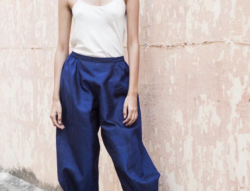 Raw Silk Obi Tuck Pants | sapphire