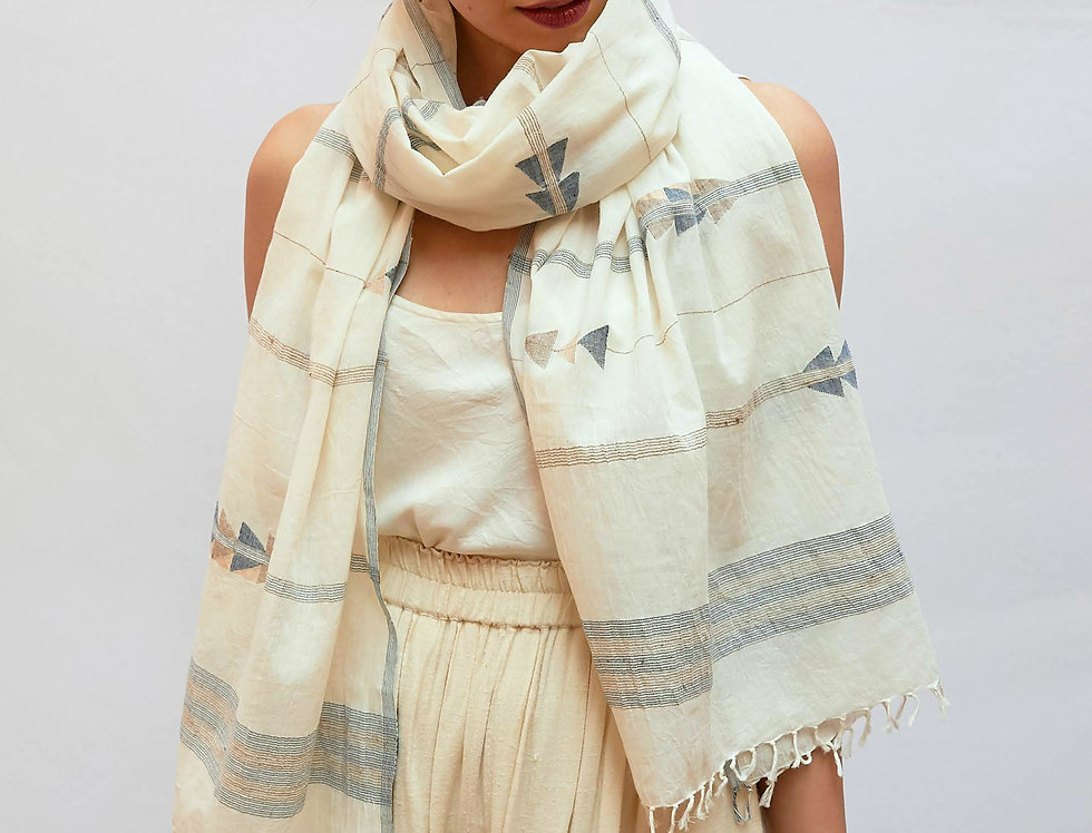 Jamdani Cotton Scarf | kora with indigo