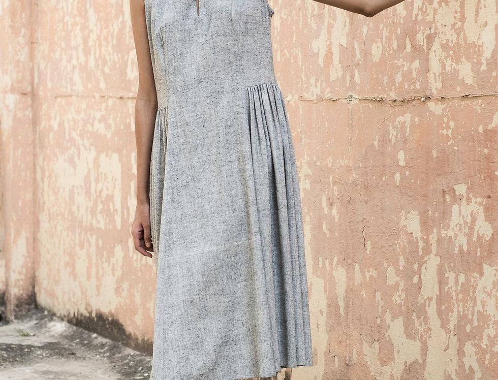 Eri Peace Silk Khiva Dress | charcoal chambray