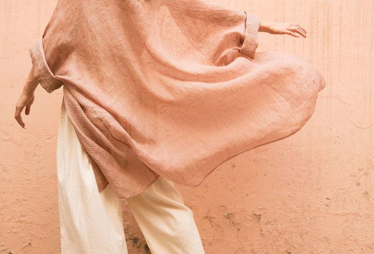 Lineya Linen Lounger   blush & silver
