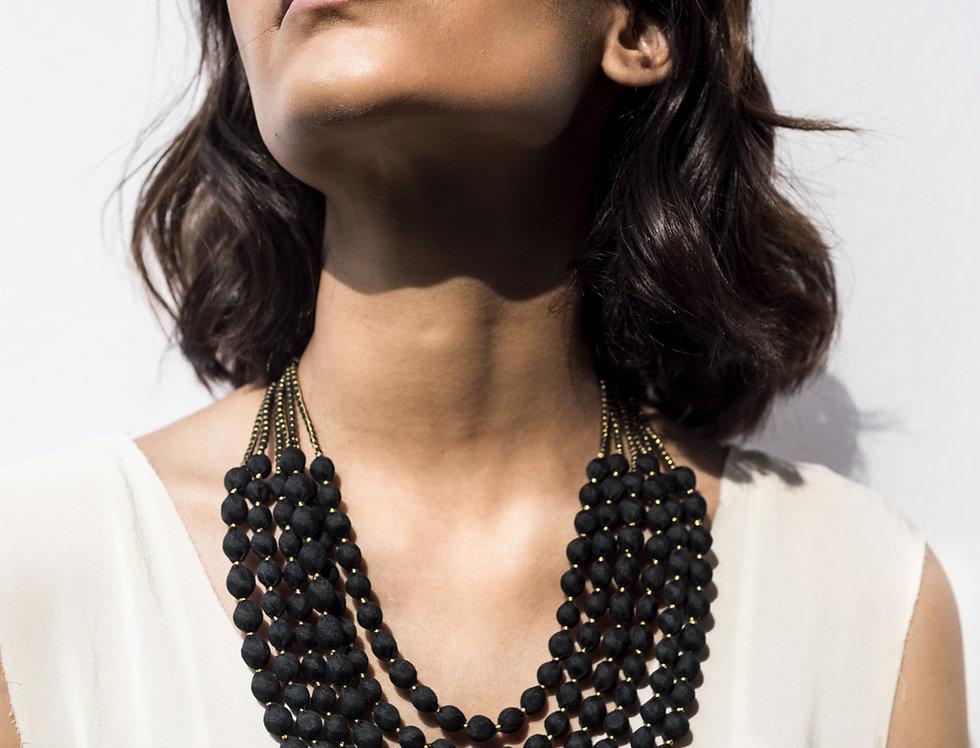 Sari Bead Necklace - 6 string | black & gold