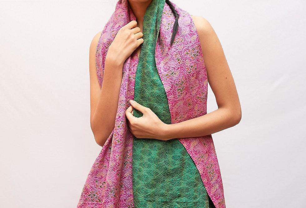 Kantha Sari Wrap   spring green & pink