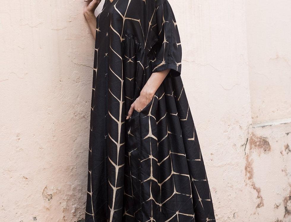 Itajime Silk Milos Dress | origami