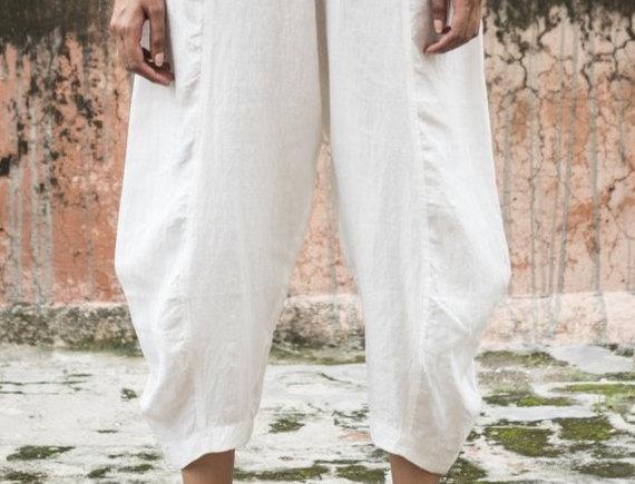 Linen Obi Tuck Pants | crisp white