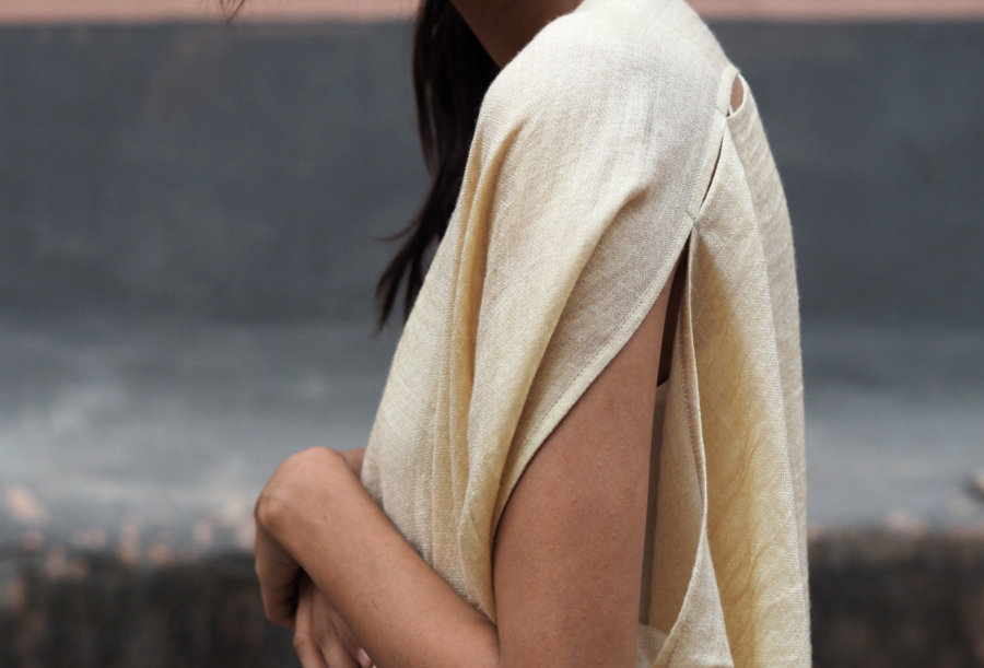 Pashmina Double Dune Robe | ivory & gold