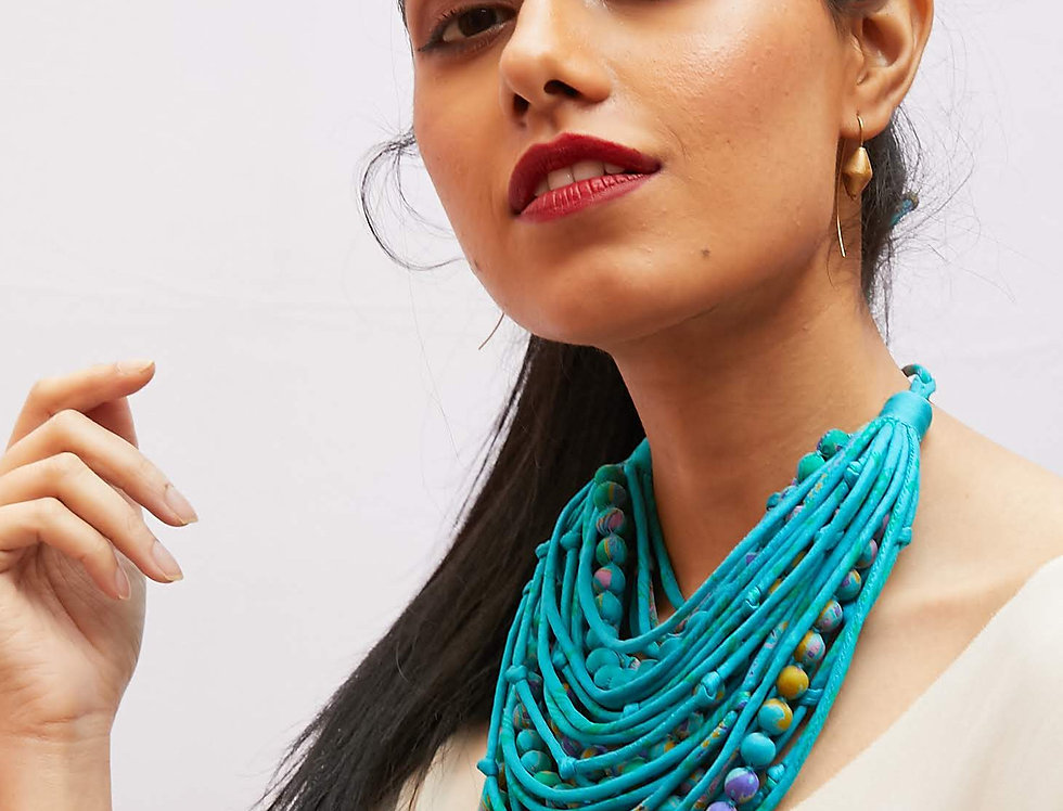 Sari String & Bead Necklace | turquoise