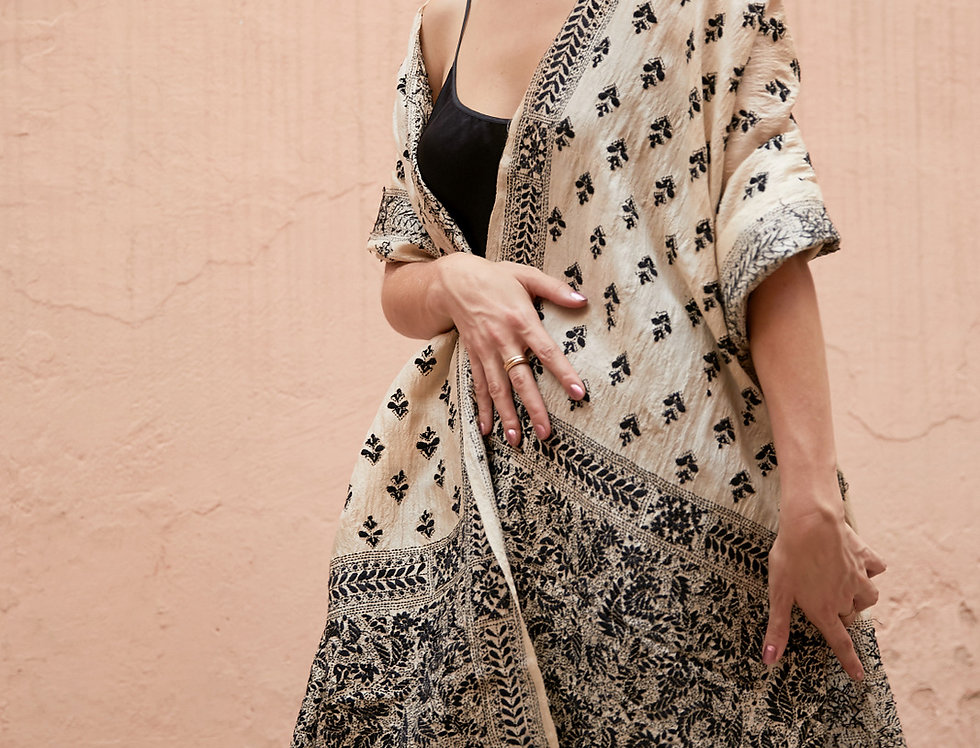 Nakshi Kantha Shawl | ivory