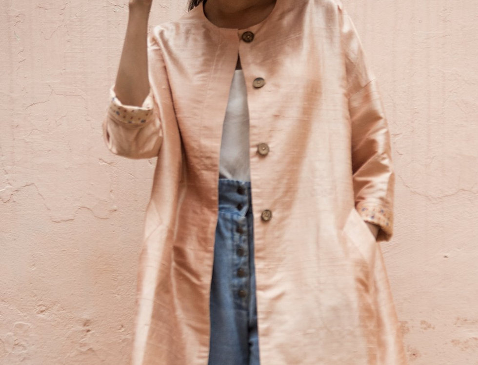 Raw Silk Cocoon Coat | moon stone