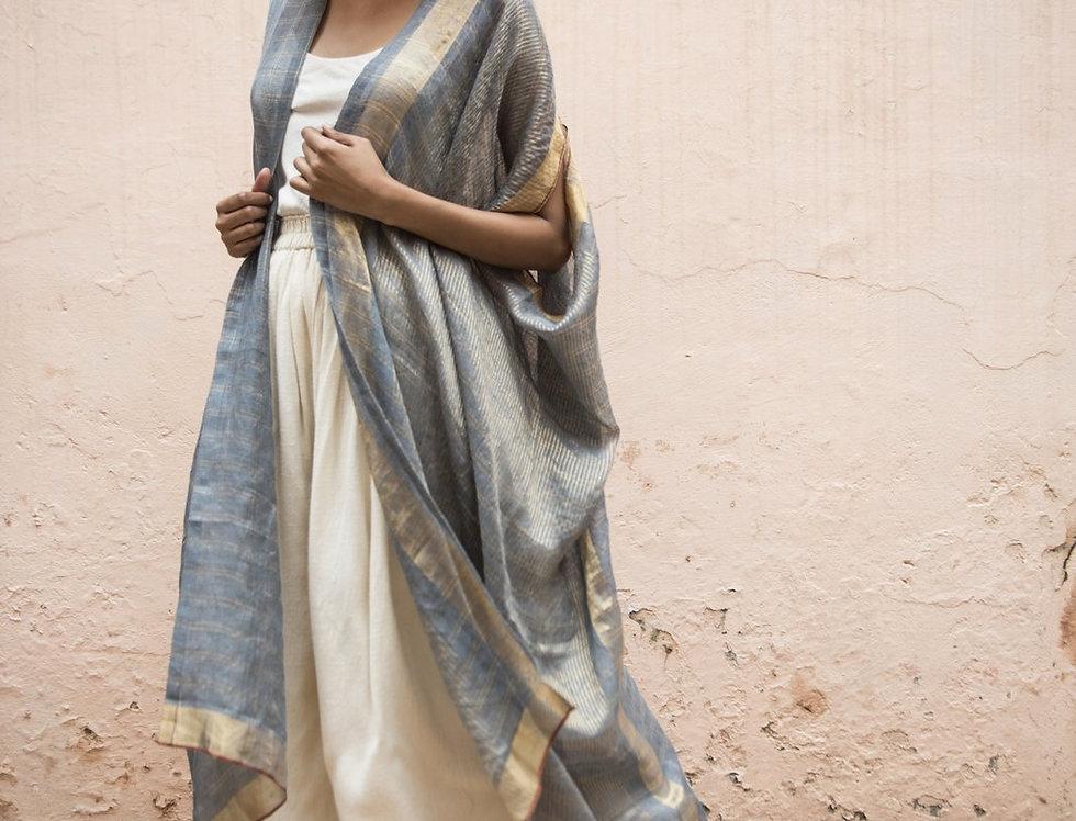 Lineya Linen Dune Robe   slate blue & silver