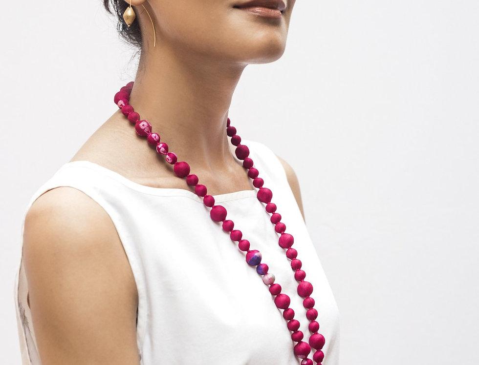 Sari Bead Necklace - jhumka | magenta bandhani