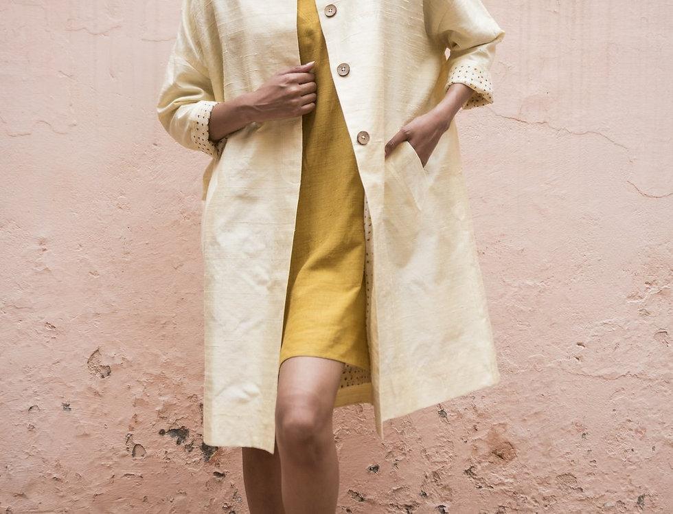 Raw Silk Cocoon Coat | ivory
