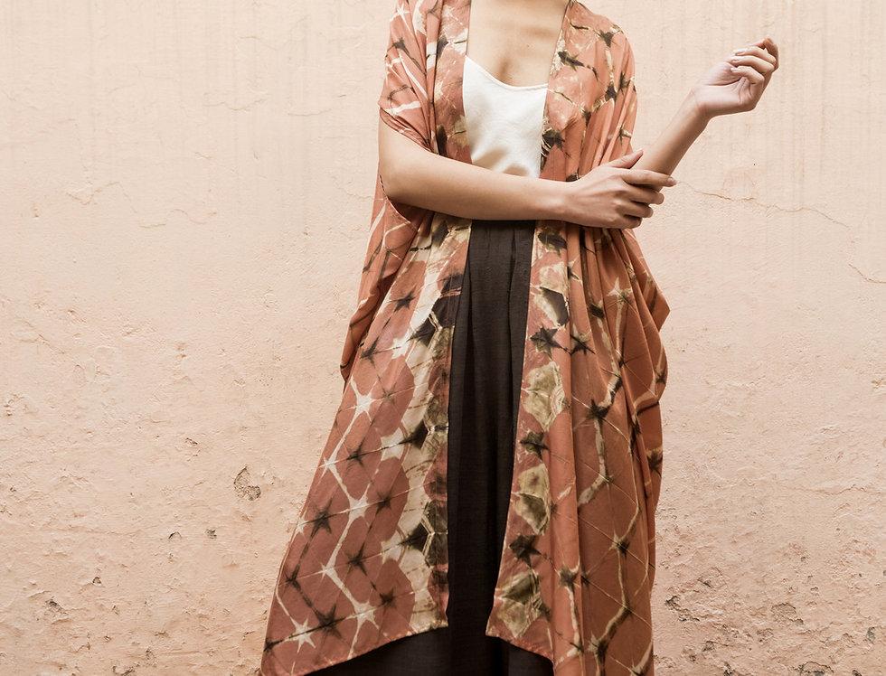 Itajime Silk Dune Robe   terracotta