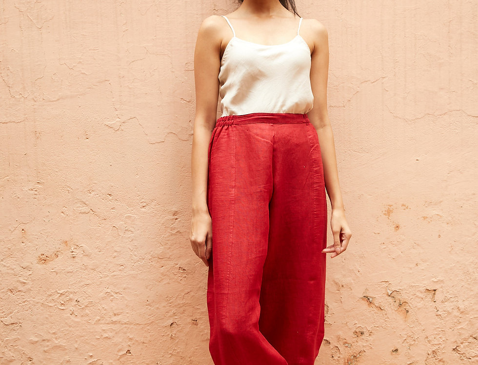 Natural Dye Linen Obi Tuck Pants | deep red