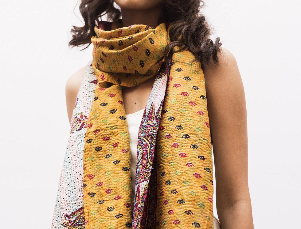 Kantha Sari Scarf | block print in marigold