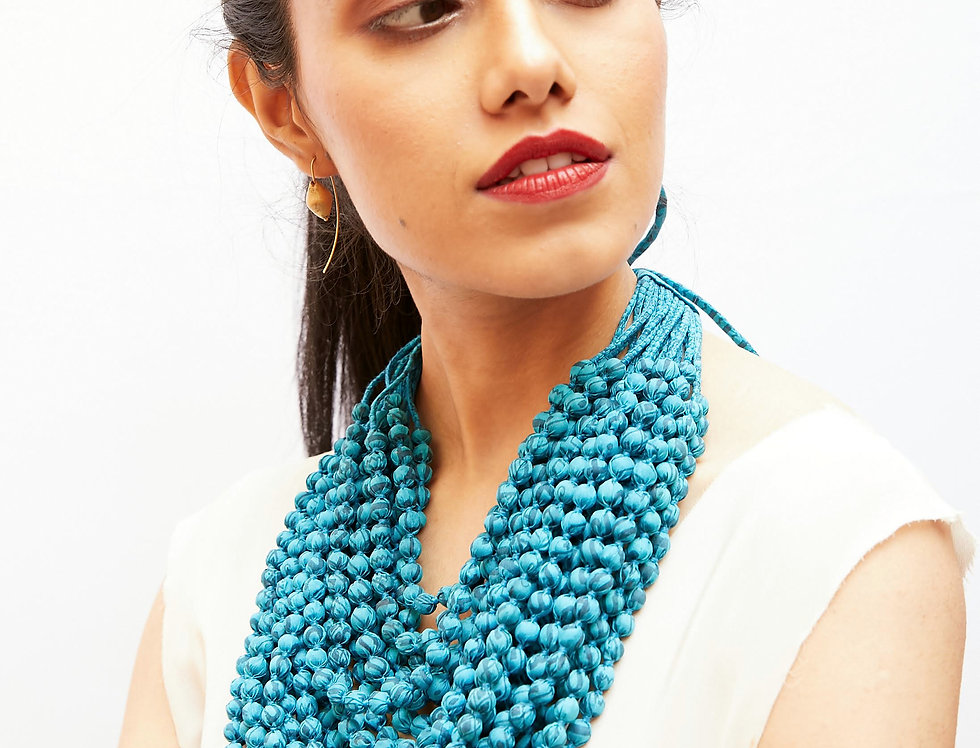 Sari Bead Necklace - 22 string | neon blue
