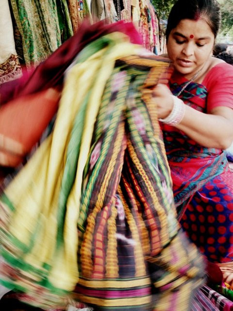 Sourcing vintage saris in New Delhi, India