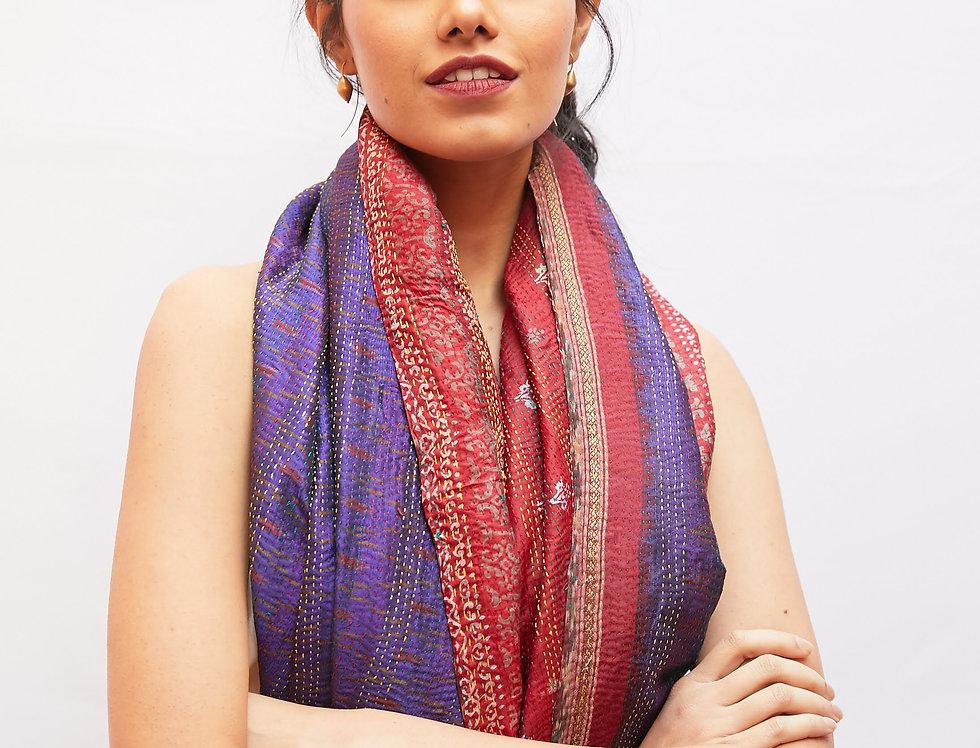 Kantha Sari Wrap | purple & red