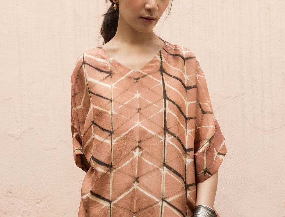 Itajime Silk Box Top   terracotta