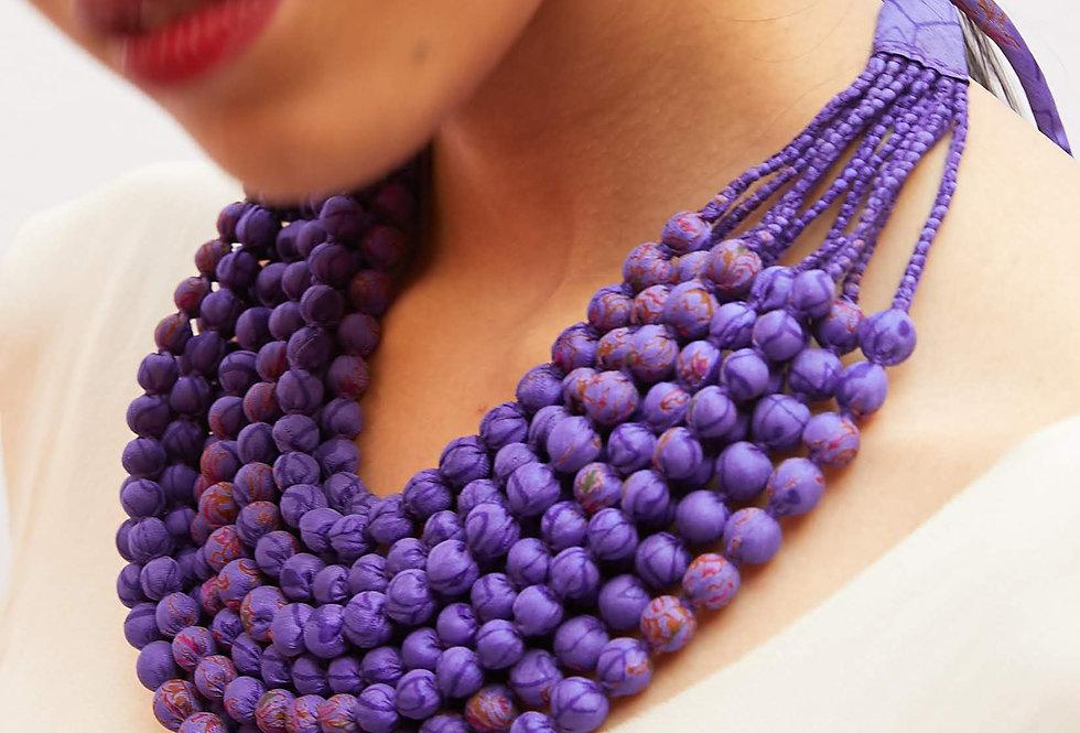Sari Bead Necklace - 12 string | purple print