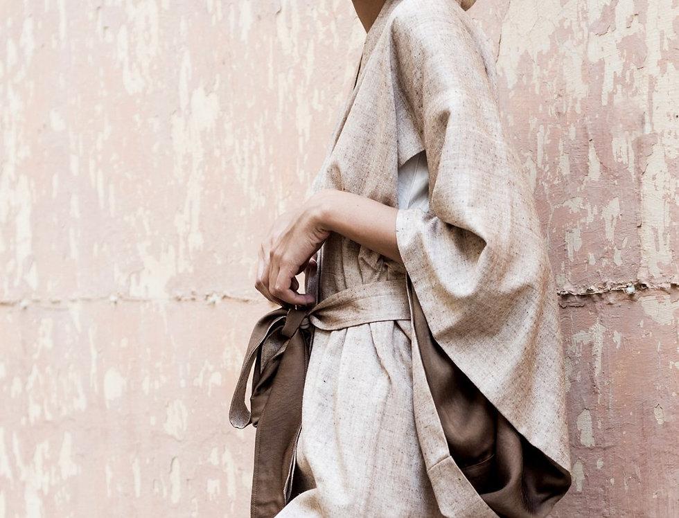 Eri Peace Silk Kimono | ochre chambray